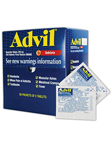 - Advil WL0151-50 Ibuprofen Pain Relief Tablet, 200mg, Standard, Blue/Red (Pack of 50)