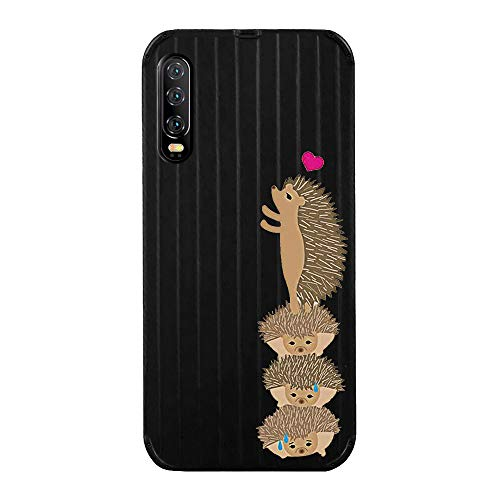 Fantasydao Compatible with Huawei P30,Ultra Thin & Light Slim Case Cute Luggage Stripe Pattern Tempered Glass Back Cover + Soft TPU Frame Protection Bumper Shell for Huawei P30(Black+Hedgehog)