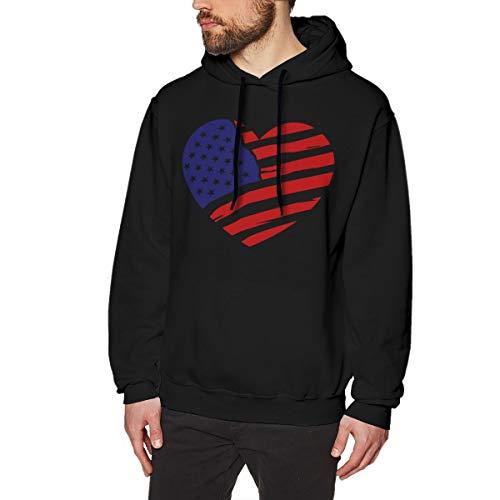 4f365f17a61a5c Re-emerwm Men's Fashion Baseball Sweatshirt Printed with United States of  America Heart Flag 3XL