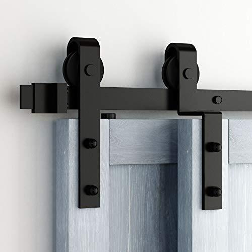 Homacer Sliding Barn Door Hardware Single Track Bypass Double Door Kit, 7FT Flat Track Straight Design Roller, Black Rustic Heavy Duty Interior Exterior ()