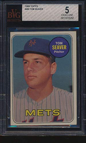 - #480 Tom Seaver HOF - 1969 Topps Baseball Cards Graded BVG 5 - Baseball Slabbed Autographed Vintage Cards
