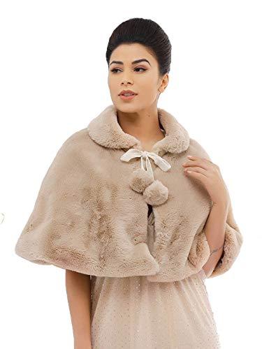 Asooll Women's 1920s Wedding Fur Shawls Wraps Bridal Faux Rabbit Fur Bride Bridesmaid