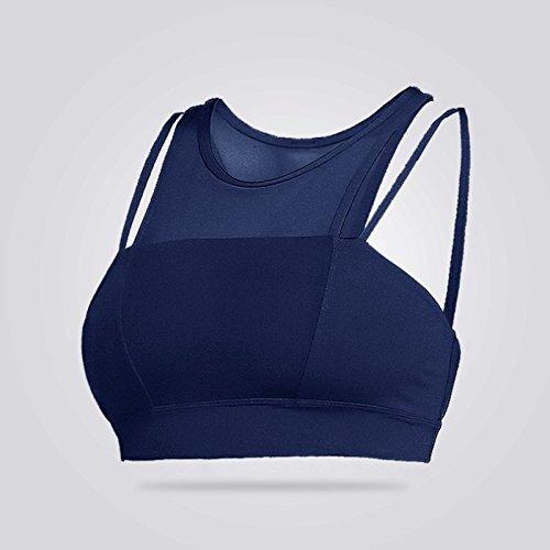 Ailin home- Profesional doble hombro movimiento del cinturón de alta intensidad corriendo a prueba de choques yoga sujetador transpirable aptitud ropa interior Azul