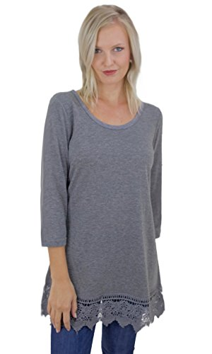 Chicago Shirt Extender With 3/4 Sleeve & Crochet Hem In Gray 9207 (Small, - Chicago In Outlets