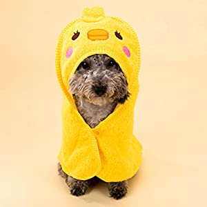 Alfie Pet by Petoga Couture - Kate Hooded Bath Towel for Small Dogs and Cats - Color: Yellow, Size: S