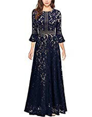 Women Vintage Floral Lace Long Wedding Dress 3/4 Bell Sleeve Floor Length Retro Cocktail Formal Party Evening Prom Maxi Gown