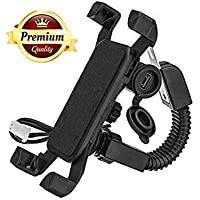 SPYKART Motorcycle Phone Holder with USB Charger 360 Rotation Bike Mobile Charger Fast Charging Bike Mobile Holder (Black)