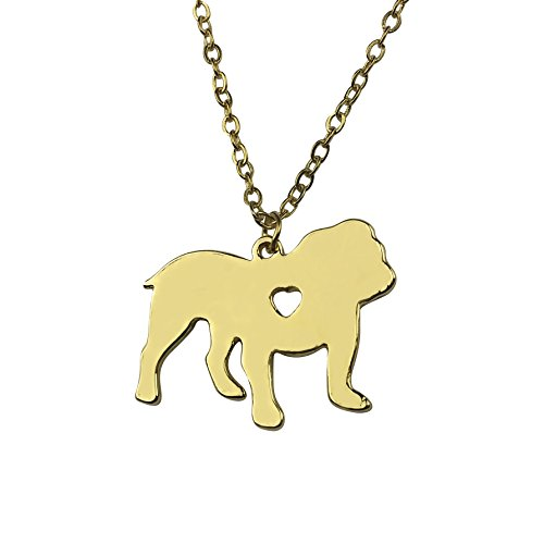 Art Attack Goldtone I Love My Dog Lover Heart English French Bulldog Pet Puppy Rescue Necklace ()