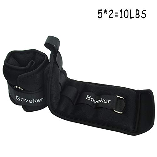 Boveker Ankle Wrist Weights 10 lbs/Pair Adjustable Strap for Men, Women, Kids - Resistance Training, Jogging, Walking, Aerobics - 5 lbs Each