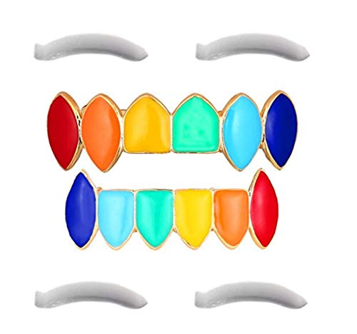 Rainbow Grillz with Fangs for Mouth Top Bottom Hip Hop Teeth Grills for Teeth Mouth + 2 Extra Molding Bars, Storage Case + Microfiber Cloth -