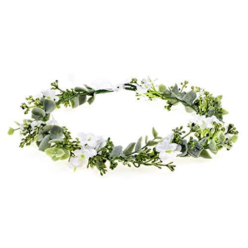 Vividsun Bridal Green Leaf Crown Bohemian Headpiece Floral Headband Photo Prop (white flower) -