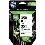 HP SD412EE - Paquete de 2 cartuchos para impresora HP 350/351, tinta color y negra