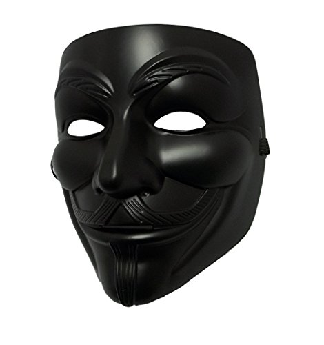 [MGPS Black Guy Fawkes Anonymous V for Vendetta Halloween Costume Mask] (V For Vendetta Costume For Men)
