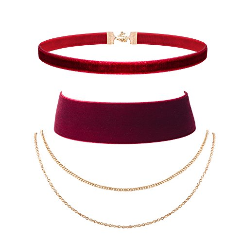 [NAWAY Women's Wine Red Velvet Choker Set Chains Necklace] (Good Costumes For Two Best Friends)
