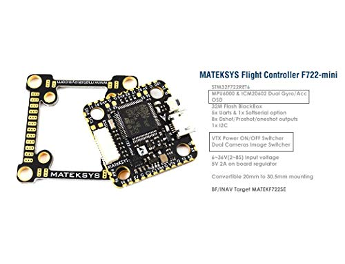Matek System F722 Mini Flight Controller w/OSD Dual Gyro/Acc 32M BlackBox  VTX ON/Off Switcher Dual Camera Switcher for 4/5 inch 220mm 210mm 250mm