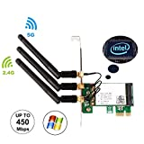 Ubit 450M Dual Band 5GHz/2.4GHz PCI-E Wireless WiFi Network Adapter Card for PC(WIE5300)