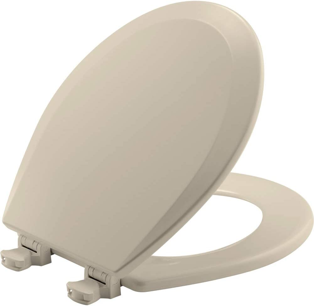 CHURCH 540EC 146 Toilet Seat with Easy Clean & Change Hinge, ROUND, Durable Enameled Wood, Almond