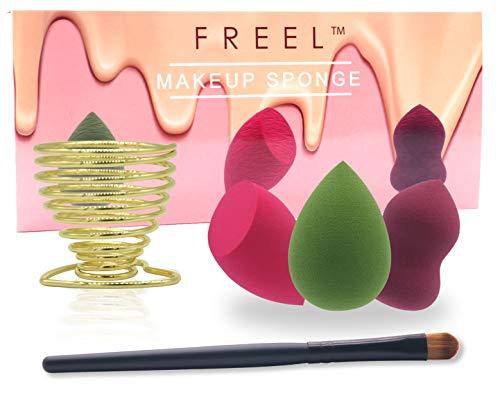 Latex Free Sponge Set - Makeup Blender Sponge Set,Eye Shadow Brush & Holder Bonus By FREEL,Beauty Sponge Blender for Foundation,Low Consumption Type For Powders&Creams,Latex-Free,3Pcs Practical Shape,Economy-Pack