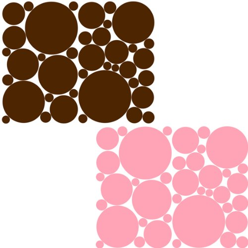 Instant Murals Pale Pink and Choc Brown Polka Dot Wall Stickers/Decals