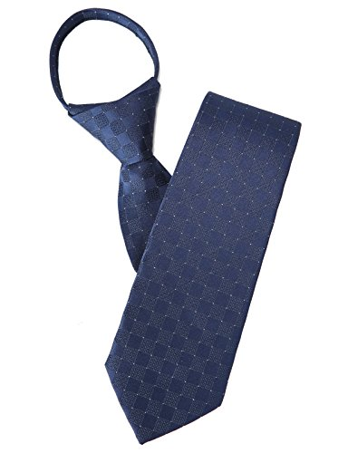 H2H Mens Casual Comfortable Zipper Check Patterned Dress Neck Tie NAVY NONE (KMANT0146)