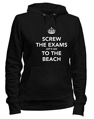 EXAMS Nero Felpa Cappuccio LET'S TO Shirtshock SCREW THE THE Donna GO BEACH T TKC1083 w8IHqx