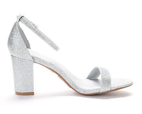 Sandals Women's CHUNK Open Heel Wedding Silver Dress DREAM Ankle Low Toe Glitter Strap PAIRS Evening Pumps Stiletto Chunky FESqwS5ZxA