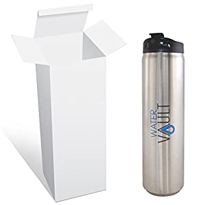 Water Vault Travel Mug, Stainless Steel Vacuum Thermos, Flip Top Sipper Lid for Coffee, Tea 20oz Silver Blue Gray