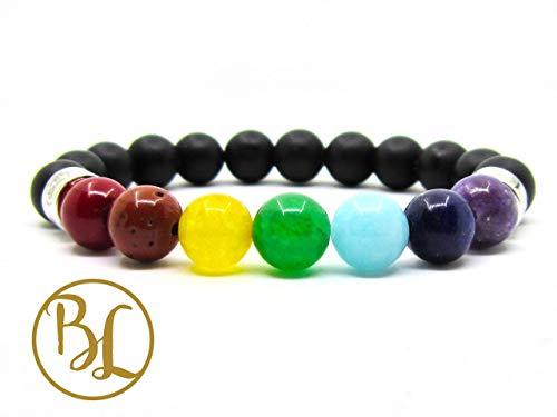 7 Chakra Mala Frost Onyx Balance 925 Sterling Silver Mala 7 Chakra Healing Bracelet 7 Chakra Energy Yoga Meditation Mala 7 Chakra Black Onyx