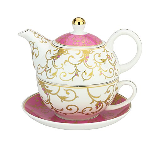 Grace Teaware Porcelain 4-Piece Tea For One (Pink / Gold Scroll Gold (Serving Pieces Tea)
