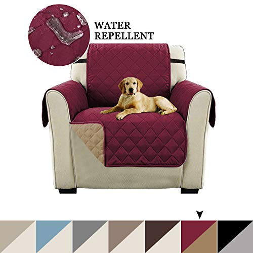 Burgundy Chair Cover - Reversible Chair Cover for Dogs Sofa Slipcover Reversible Sofa Cover Furniture Protector Couch Shield Water Resistant Quilted Pets Protector with 2