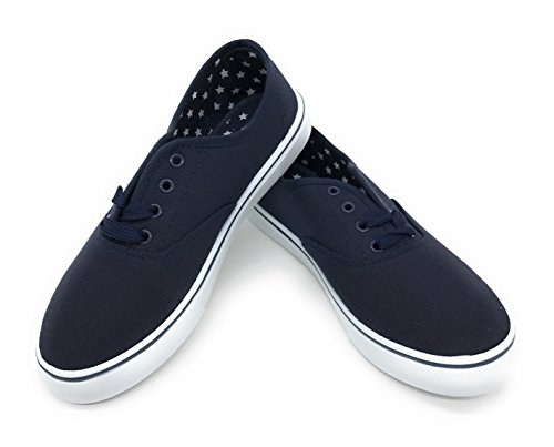 EASY21 Women Canvas Round Toe Lace Up Flat Sneaker Oxford Boat Shoe,Navy,Size 5