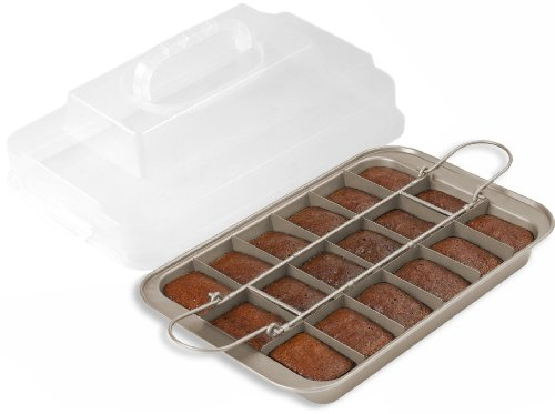 Chicago Metallic Gold Aluminum Slice Solutions Brownie Pan, 11x7 Inch - Chicago Metallic Brownie Pan