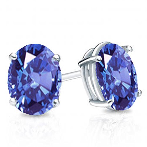 Sterling Silver 7x5 mm each Oval Cut Tanzanite Ladies Solitaire Stud Earrings - Cut Tanzanite Solitaire