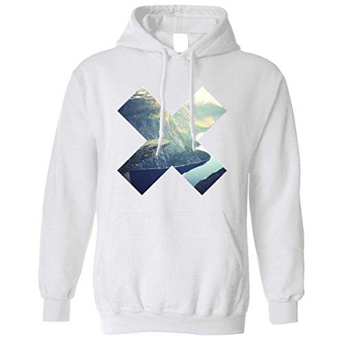 Geometric Cross Shape Photograph Landscape Image Design Graphics Photo Picture Hoodie Cool Funny Gift Present Unisex Fit (Gifts Personalised Photo)
