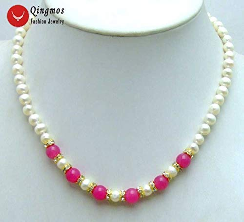 FidgetKute 6-7mm White Natural Freshwater Pearl Necklace for Women 17