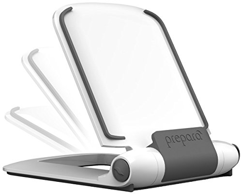 Prepara iPrep Foldable/Adjustable e-reader, phone and tablet stand for iPads, iPad Air, iPad mini, iPhone, Surface, Kindle Fire, Nook, Samsung, White