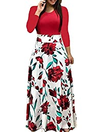 4355d4d354 Womens Long Sleeve Maxi Dress Round Neck Floral Print Casual Tunic Long  Maxi Dress
