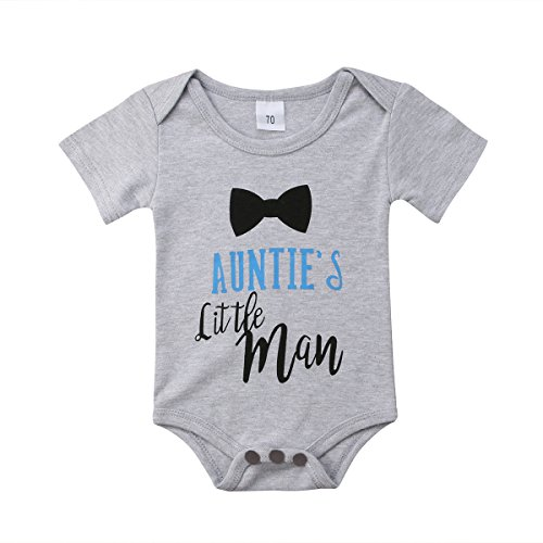 Aunt Bodysuit (Infants Baby Boy Auntie's Little Man Short Sleeve Bodysuits Rompers Outfits (Grey, 3-6M))