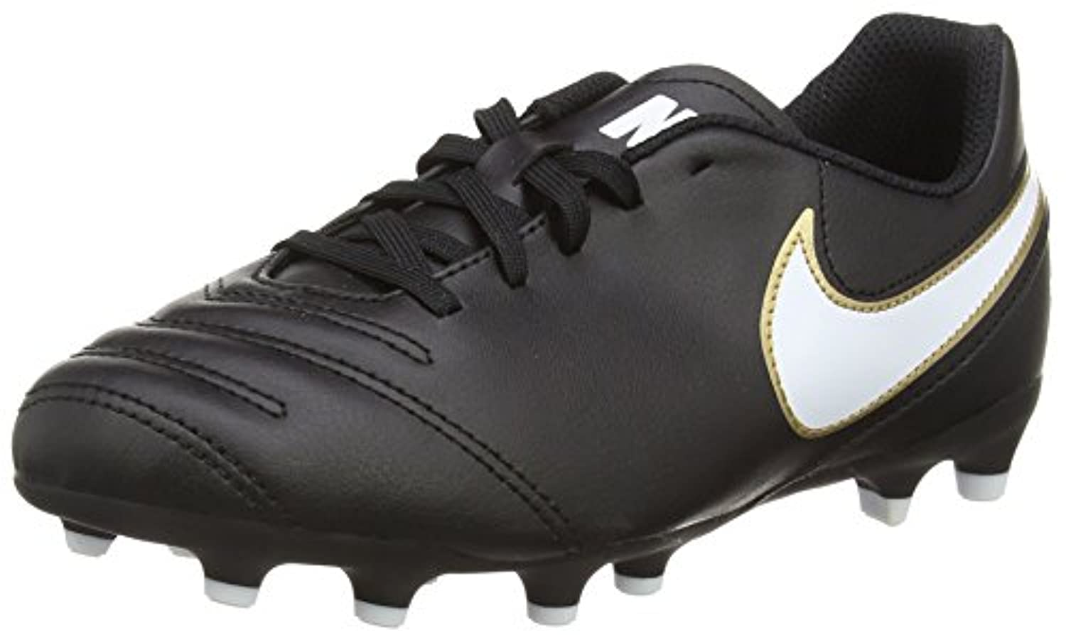 Nike Unisex Kids' Tiempo Rio III FG Football Training Shoes, Black (Black/White-Metallic Gold 010), 1 UK