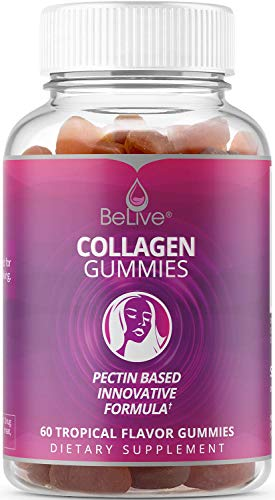 Hydrolyzed Collagen Gummies Type I & III Supplement – Hair, Skin and Nails Vitamins Gummy | All-Natural & Marine Sourced. Kosher & Halal Certified - Tropical Flavored 60 Chews BeLive