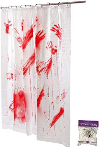 Potomac Banks Bundle: 2 Items - Bloody Shower Curtain and Free Spider Web (Comes with Free How to Live Stress Free Ebook)