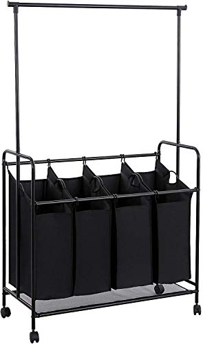 SONGMICS 4-bag Rolling Laundry Sorter with Hanging Bar Heavy-duty with Wheels & Larger Bags Black URLS44B (Rack Laundry Sorting)