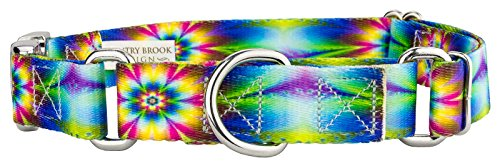 Country Brook Petz Tie Dye Flowers Martingale with Premium Buckle - Large
