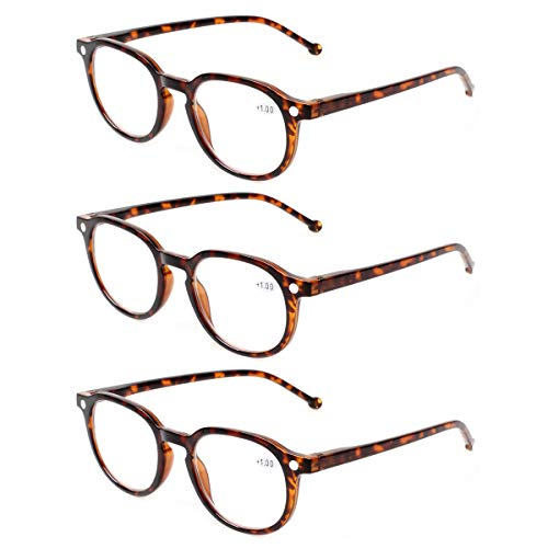 READING GLASSES 3 Pair Retro Round Spring Hinged Readers Great Value Quality Glasses for Reading (3 Pack Tortoise, ()