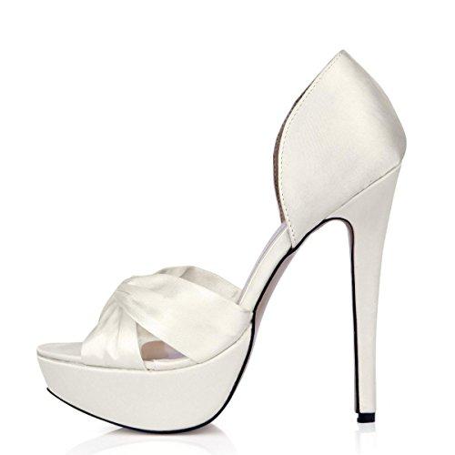Best 4U® Sandali estivi da donna Scarpe da sposa Faux Silk Bow Peep toe 14CM Tacchi alti 3 CM Piattaforma Suola in gomma Scarpe