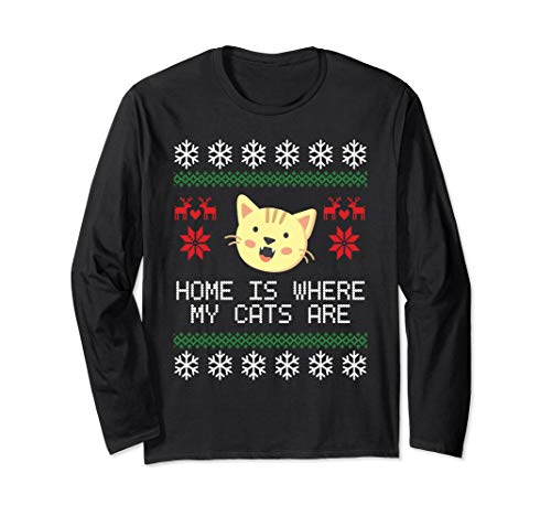 - Christmas Ugly Sweater Cat Lovers Long Sleeve Shirt