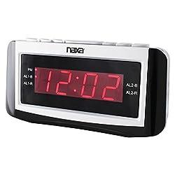NAXA NRC-171 PLL Digital Dual Alarm Clock with AM/FM Radio, Snooze and Large LED Display (Black Lacquer)
