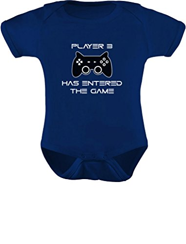 Player 3 Has Entered The Game - Gift Third Child Gamer Baby Bodysuit Newborn Navy (Thing 1 And Thing 2 Baby Shower Ideas)