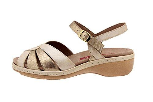 Calzado mujer confort de piel Piesanto 2812 sandalia plantilla extraible cómodo ancho Beig