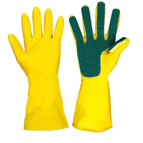 Jaipuri haat present Anti Allergic premium quality Latex Mamta Hygiene Kavach dish washing Gloves for all kind of Utensils , Large, Green